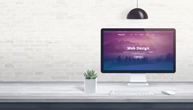 Modern web theme on computer display royalty free stock images