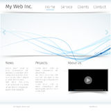 Modern website design with blue wave theme Stock Photos