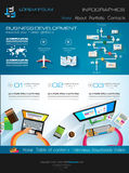 Modern website template with flat style infographics layout Stock Image
