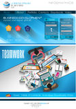 Modern website template with flat style infographics layout Royalty Free Stock Photo