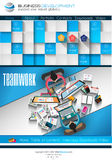 Modern website template with flat style infographics layout Stock Photos