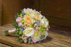 Modern wedding bouquet. Made of various plants as roses Royalty Free Stock Photography