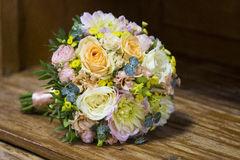 Modern wedding bouquet. Made of various plants as roses Royalty Free Stock Photos