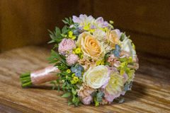 Modern wedding bouquet. Made of various plants as roses Royalty Free Stock Images