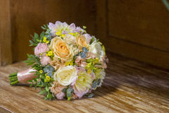 Modern wedding bouquet. Made of various plants as roses Royalty Free Stock Image