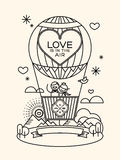 Modern wedding groom and bride pictogram in hot air balloon Stock Photo