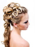 Modern wedding hairstyle Royalty Free Stock Photos