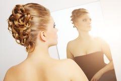Modern wedding hairstyle. Royalty Free Stock Photo