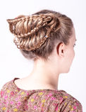 Modern wedding hairstyle. Beauty wedding hairstyle rear view isolated on white Royalty Free Stock Photo