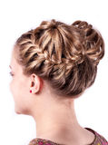 Modern wedding hairstyle. Beauty wedding hairstyle rear view isolated on white Royalty Free Stock Photos
