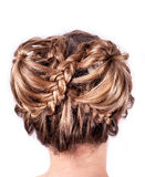 Modern wedding hairstyle. Beauty wedding hairstyle rear view isolated on white Stock Photography
