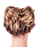 Modern wedding hairstyle. Beauty wedding hairstyle rear view isolated on white Royalty Free Stock Photography
