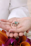Modern Wedding Hands And Rings In Palm -Beach Stock Images