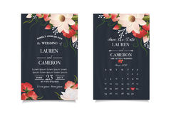Modern wedding invitation with calendar planner and matched wedding day Royalty Free Stock Photography