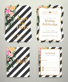 Modern wedding invitation card set on black and white stripe bac Stock Photo