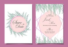 Modern Wedding Invitation Card Template 2 Different Cards. Watercolor leaves with Golden Geometric Shape. Save the Date and vector illustration
