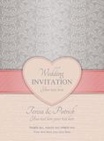 Modern wedding invitation, pink and silver Royalty Free Stock Photography