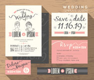 Modern wedding invitation set design Template Royalty Free Stock Photo