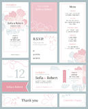 Modern wedding set of printed materials with a floral design. Stock Photography