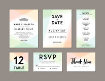 Modern Wedding Set template. Modern design. Wedding Invitation, Save the Date, Menu, Table card, RSVP, and Thank You card design with modern abstract Stock Photos