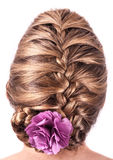 Modern weddting hairstyle. Beauty wedding hairstyle rear view isolated on white Stock Photo