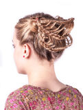 Modern weddting hairstyle. Beauty wedding hairstyle rear view isolated on white Stock Images