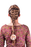 Modern weddting hairstyle. Beauty wedding hairstyle rear view isolated on white Stock Image