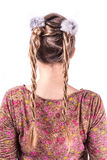 Modern weddting hairstyle. Beauty wedding hairstyle rear view isolated on white Royalty Free Stock Image