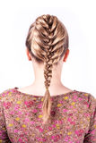 Modern weddting hairstyle. Beauty wedding hairstyle rear view isolated on white Royalty Free Stock Photo