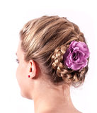 Modern weddting hairstyle. Beauty wedding hairstyle rear view isolated on white Royalty Free Stock Images