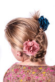 Modern weddting hairstyle. Beauty wedding hairstyle rear view isolated on white with red big flower Royalty Free Stock Images