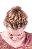 Modern weddting hairstyle. Beauty wedding hairstyle rear view isolated on white with red big flower Stock Image