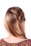 Modern weddting hairstyle. Beauty wedding hairstyle rear view isolated on white with red big flower Stock Photos