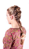 Modern weddting hairstyle. Beauty wedding hairstyle rear view isolated on white with red big flower Royalty Free Stock Image