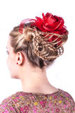 Modern weddting hairstyle. Beauty wedding hairstyle rear view isolated on white with red flower Royalty Free Stock Photos