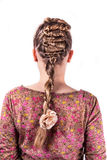 Modern weddting hairstyle. Beauty wedding hairstyle rear view isolated on white with white flower Royalty Free Stock Images
