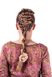 Modern weddting hairstyle. Beauty wedding hairstyle rear view isolated on white with white flower Stock Images