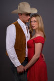 Modern Western. Couple posing in modern western outfits Royalty Free Stock Photo
