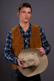 Modern Western. Male model posing in a modern western outfit Stock Photography