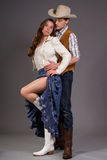 Modern Western. Couple posing in modern western outfits Stock Images