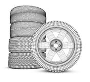 The modern wheels. Wheels on a white background. 3d rendering Royalty Free Stock Photos