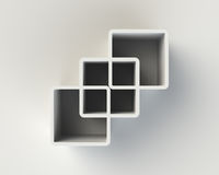 Modern White Abstract Book Shelf on the Wall Stock Photos