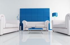 Free Modern White And Blu Living Room Stock Photo - 9043730