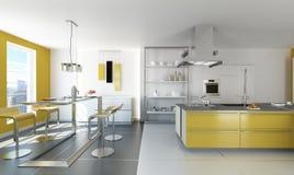 Modern White And Yellow Kitchen. Stock Photo
