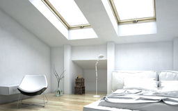 Modern White Architectural Bedroom Design Royalty Free Stock Photo