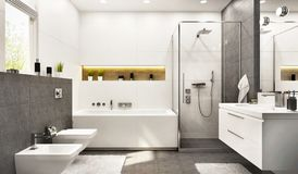 Modern white bathroom with bath and window
