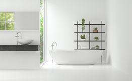 Modern white bathroom interior minimal style 3d rendering image Royalty Free Stock Image
