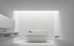Modern white bathroom interior minimal style 3d rendering image Royalty Free Stock Photo