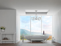 Modern white bathroom with mountain view 3d rendering image. There are decorate wall with white wood pattern.There are large window over looking the surrounding Stock Image