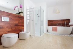 Modern white bathroom Stock Images